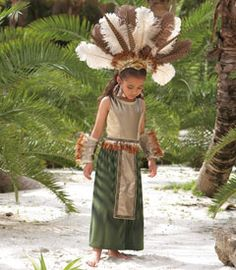 aztec princess girls costume - Only at Chasing Fireflies - You reign over sun-drenched lands in a rich green and gold dress with feather-trimmed belt. Best Kids Costumes, Costumes For Sale, Creative Costumes, Girl Costumes, Halloween Costumes, Carnival Costumes, Aztec Costume, Costume Dress, Green And Gold Dress