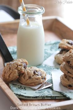 Salted Brown Butter Dark Chocolate Chip Cookies by Picky Palate