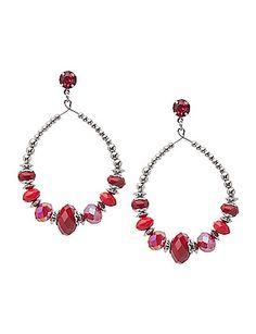 Faceted bead hoop earrings by Lane Bryant