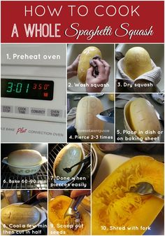 How to Cook a Whole Spaghetti Squash - keep it simple and keep all your fingers when cutting it open! Easy, healthy baked spaghetti squash method.