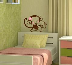 Monkey Vinyl Decal - Wall art - Great for a baby nursery or girls bedroom. $12.00, via Etsy.