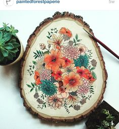 One of a kind hand painted wood slice. Each wood slice is completely original and unique, inspired by different botanical elements and flowers. Watercolor On Wood, Floral Watercolor, Painting On Wood, Gouache Painting, Painting Flowers, Wood Crafts, Diy And Crafts, Arts And Crafts, Wood Slices