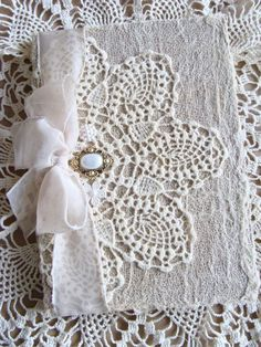 Shabby Chic White Lace Doily Shabby Journal Diary by ShabbySoul