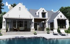 Modern Farmhouse Plan: 2,828 Square Feet, 4 Bedrooms, 3.5 Bathrooms - 9401-00099 Cottage House Plans, Cottage Homes, Rose House, Two Story House Plans, Floor Plan Layout, Contemporary House Plans, Modern Farmhouse Plans, House On A Hill, Great Rooms