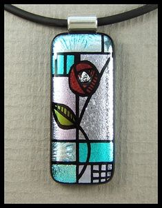 Art Nouveau inspired ~ hand engraved dichroic glass, cubic zirconia