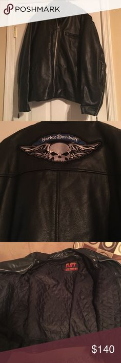Heavy leather jacket w/ Harley symbol It's a heavy hot leather jacket with a enter liner that can come out . Super heavy duty and has the Harley Davidson decal on the back! It's in great condition . It's not a real Harley jacket but it's super heavy duty and has the decal of the Harley Davidson Jackets & Coats