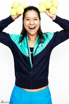 """Li Na: Li Na goofs around during her Nike photo shoot. She was voted into the No. 5 spot by viewers on #Tennis Channel's """"Best of 5 Heartthrobs"""" list."""