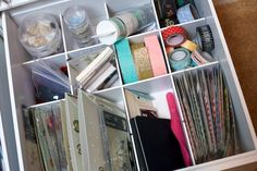 Noell Hyman's drawer of random scrapbook embellishments. For more on this go here: http://www.paperclipping.com/paperclipping-258-organization-for-making-and-using-kits/