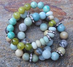 Amazonite New Jade Blue and Green Gemstone Beaded Bracelet