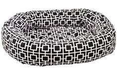 Bowsers Courtyard Grey Microvelvet Donut Dog Bed