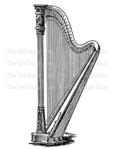 Harp Vintage Music Clip Art Illustration Digital Download