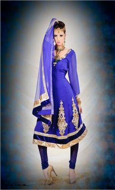 Electric Blue Anarkali