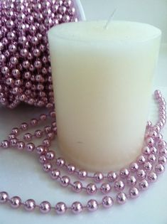 Red 82 Feet Rose Pearl String Beads Garland for Wedding Party Crafts Decoration