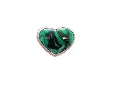 Кольцо сердце малахит