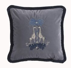 Emma J Shipley for Clarke & Clarke Kruger Square Velvet Cushion in Scatter Cushions at Seymour's Home Cushion Inserts, Cushion Pads, Feather Tree, Embroidered Cushions, Palm Tree Print, Velvet Cushions, Scatter Cushions, Tree Designs, Blue Tones