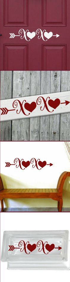 Dress up your door with this Kisses and Hugs XOXO Happy Valentines Day Arrow Decal that can also fit perfectly in a variety of home decor themes. Use on wall, wood sign, shadow box, canvas, plate, tile, glass window, glass block, or any number of other projects this holiday season! #ValentinesFrontDoorDecal #ValentinesDayDecor #Arrow #affiliate #XOXO #KissesandHugs #ValentineSticker #ClassroomDecorations #ValentinesDay #VinylDecal