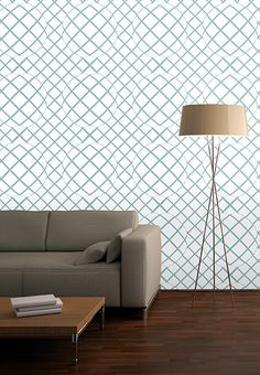 """Trompe l'oeil, seamless wallpapers, wall murals """"Green lines"""" - white wallpaper in retro style for living room"""