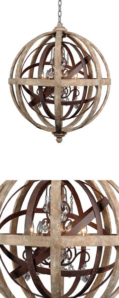 We were mesmerized by the stunning design form and mix of materials used to craft this Visions Chandelier. Intense and intricate, its spherical layers of wood and metal create a… Wood Chandelier, Modern Chandelier, Bedroom Lighting, Home Lighting, Rustic Thanksgiving, Wood Images, Farmhouse Chic, Wood And Metal, Light Fixtures