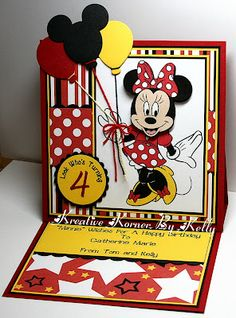 Minnie Mouse Birthday Card. I love the bold colors and the baloons extending over the top. So cute!