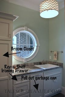broom closet in laundry room- make large enough to store vacuum and cleaning supplies (tales of a peanut)