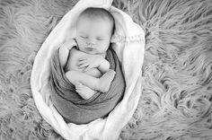 Shelley Barrett Photography || Newborn Baby Boy Infant Portrait Photographer || Birmingham, Chelsea, Helena, Pelham, Alabaster, Hoover, Inverness, Greystone, Vestavia, Shelby, Alabama || Black and White, Baby Feet, Wrapped, Flokati Fur, Beanbag Flow Posing
