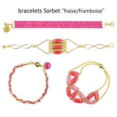 """Assortiment de bracelets """"Sorbet""""; des jolies breloques colorées, de la chaîne et quelques anneaux suffisent pour réaliser des bracelets en quelques minutes! #bijoux #LaDroguerie"""