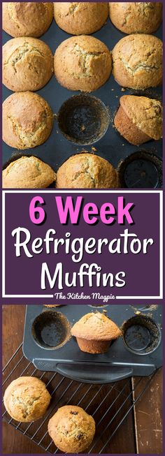 Six Week Raisin Bran Refrigerator Muffins from My mom kept this batter in a huge lidded Tupperware bowl or ice cream pail in the fridge! Who else's mom had this in the fridge when they were kids? 6 Week Bran Muffin Recipe, Muffin Tin Recipes, Healthy Muffin Recipes, Healthy Muffins, Muffin Tins, Healthy Meals, Rasin Bran Muffins, All Bran Muffins, Breakfast Muffins