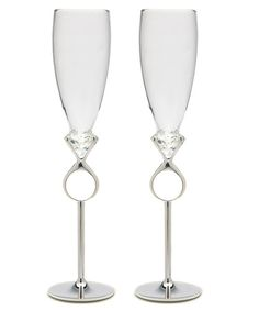 Diamond Ring Wedding Toasting Flutes have contrasting glass tops and silver stems. Wedding toasting glasses feature a diamond ring integrated into the stem. Wedding Champagne Flutes, Champagne Glasses, Wedding Glasses, Toasting Flutes, Wedding Toasts, Ring Designs, Bling, Diamond, Wedding Stuff