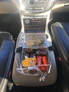 XL Uber Lyft Tip Candy Box, USB Charging Station with Universal Cable, and LED lighting package.