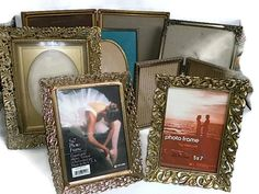 Vintage Picture frames for wedding 9 frames metal by RayMels