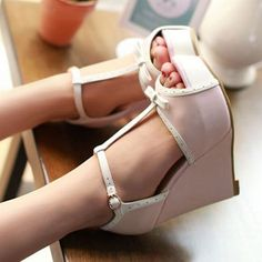New Women's Wedge High Heels shoes Open Toe Sandals Ankle T-strap Pumps Bowknot | Clothing, Shoes & Accessories, Women's Shoes, Heels | eBay!
