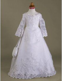 Exquisite Satin Gown With Sheer Lace Applique Organza Sleeves and Skirt Overlay