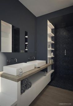 Browse modern bathroom ideas images to bathroom remodel, bathroom tile ideas, bathroom vanity, bathroom inspiration for your bathrooms ideas and bathroom design Read Grey Bathrooms, White Bathroom, Bathroom Interior, Modern Bathroom, Small Bathroom, Vanity Bathroom, Bathroom Vintage, Master Bathroom, Contemporary Home Furniture