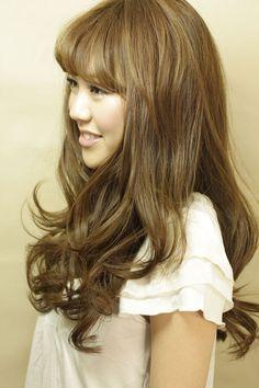 Long hair, soft full bangs side view