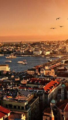 Istanbul, City, Sunset, Dusk, Building, Landscape, Sea