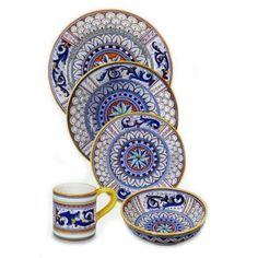 Our Deruta collection of Italian dinnerware is beautiful on your table when set with our other Italian pottery, yet bold enough to stand alone. Perfect for serving all of your favorite Italian dishes--or just chips and a sandwich! All of our Italian dishware is completely handmade and hand painted in Italy. Thinking of creating a