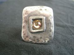 Square silver ring with champagne Swarovsli crystal center