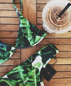 love at first sight can't get enough of this print > ISLA top + JESSIE bottom in #bananaleaf lovin @hayscorn's sweet little pipeline purchase x #stonefoxswim