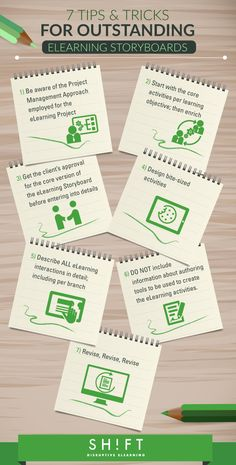 How to Design Outstanding eLearning Storyboards Infographic - http://elearninginfographics.com/design-outstanding-elearning-storyboards-infographic/