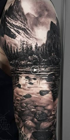 (notitle) - Baum tattoo - - Most creative tattoo list Mountain Sleeve Tattoo, Forest Tattoo Sleeve, Wolf Tattoo Sleeve, Nature Tattoo Sleeve, Best Sleeve Tattoos, Sleeve Tattoos For Women, Tattoo Sleeve Designs, Tattoo Nature, Best Tattoos For Men