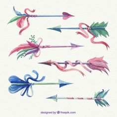 Hand painted arrows with ribbons