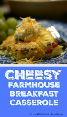 Cheesy farmhouse breakfast casserole • from RippedJeansAndBifocals.Com Deliciously cheesy, easy make-ahead breakfast casserole that you family or guests will LOVE.  #CollectiveBias #NaturallyCheesy #Ad