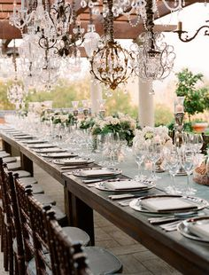 Chandeliers Al Fresco style Mod Wedding, Chic Wedding, Wedding Bells, Wedding Table, Wedding Styles, Wedding Reception, Dream Wedding, Wedding Ideas, Blue Wedding
