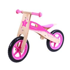 Too posh to push? Then hop onboard this wonderful pink Balance Bike, which is ideal for starting youngsters on their journey towards full two-wheeled mobility! With its padded, adjustable seat, long lasting solid tyres and easy to grip handlebars, it's a delight to sit on. Just push forwards and go! An excellent way to improve balance while further developing hand/eye co-ordination skills. Ages 3 years and up. http://shop.bigjigstoys.co.uk/p/my-first-balance-bike-pink