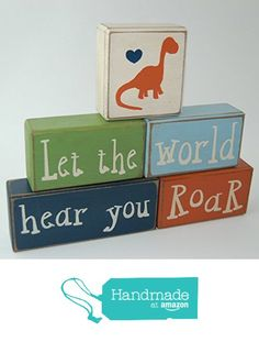 Let The World Hear You Roar - Primitive Country Wood Stacking Sign Blocks Dinosaur Decor Children's Room Birthday Baby Shower Centerpiece Nursery Room Decor from Blocks Upon A Shelf https://www.amazon.com/dp/B017PQYPES/ref=hnd_sw_r_pi_awdo_bNqixb22FQ91J #handmadeatamazon
