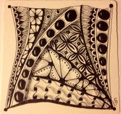 Zentangle by feistycairn. My first for 2014.