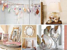 décoration artisanales en coquilles - lampes de chevet, cadres photos et miroirs