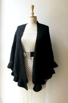 Knitting Black Shawl Wrap  Hand Knitted Ruffle by crochetbutterfly, $90.00