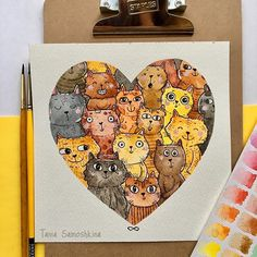 Cats Cats Cats!  #all_I_love #illustration #cats #catart #shapeofmyheart #watercolorart ##artistsoninstagram #painteveryday #artist4shoutout #watercolor #catgram
