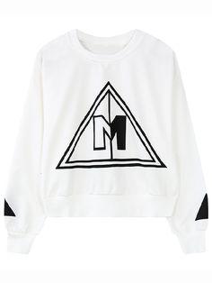 White Round Neck Triangle Print Sweatshirt